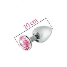 Анальна Пробка Mai Metal Plug With Stone, L Silver
