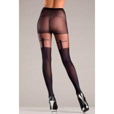 Black Pantyhose With Shadow Cross Design