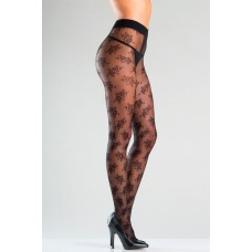 Floral Designed Sheer Tights With Gusset