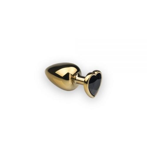 Анальная пробка,Gold Heart Black Diamond, S
