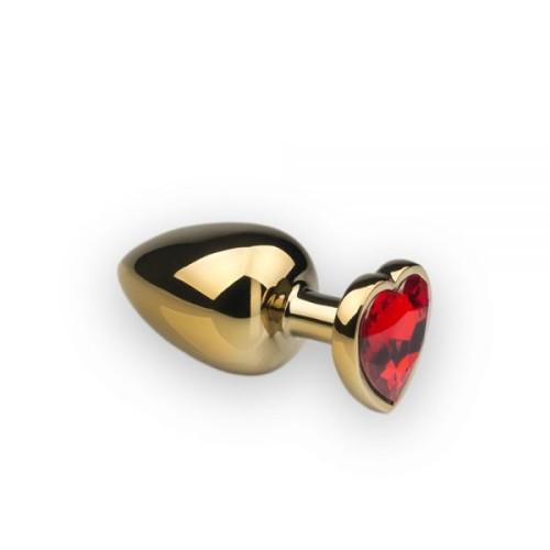 Анальная пробка,Gold Heart Ruby, L
