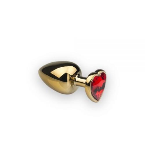 Анальная пробка,Gold Heart Ruby, M