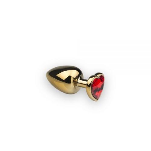 Анальная пробка,Gold Heart Ruby, S