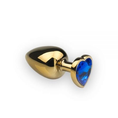 Анальная пробка,Gold Heart Sapphire, L