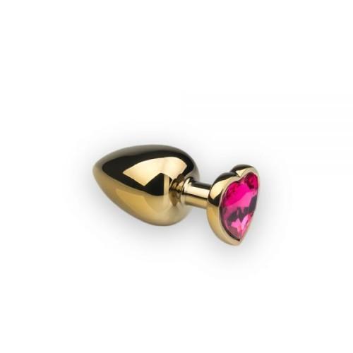 Анальная пробка,Gold Heart Pink-Rhodolite, M
