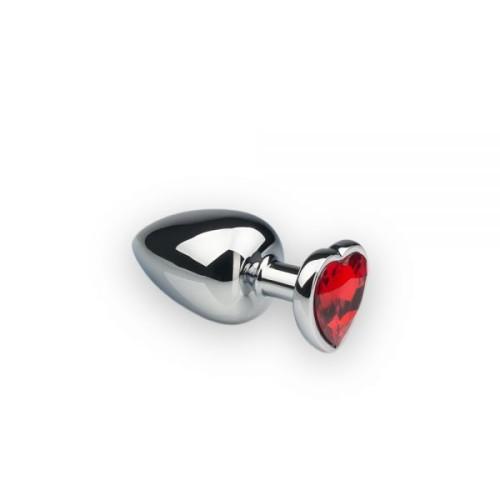 Анальная пробка, Silver Heart Ruby, M