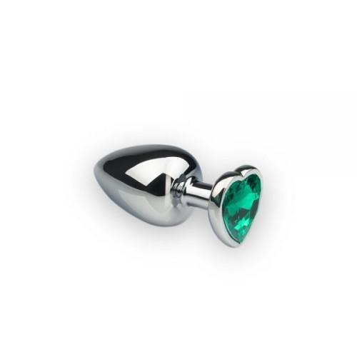 Анальная пробка, Silver Heart Emerald, S