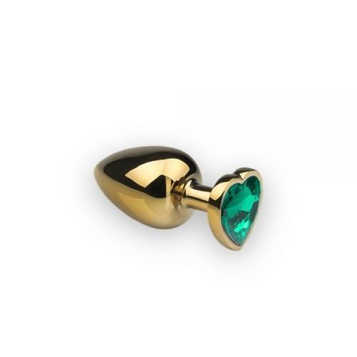 Анальная пробка, Gold Heart Emerald, L