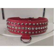 Нашийник Leather Rivet & Crystal, Red