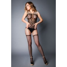 Сітка Bodstocking In Lace Look With Fishnet Stockings Black, S-L (40-46)